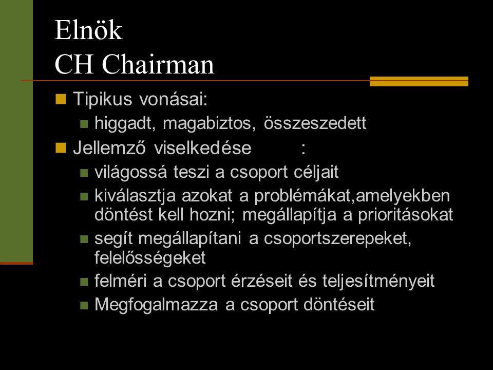 Elnök CH Chairman  Tipikus vonásai:  higgadt, magabiztos, összeszedett  Jellemző viselkedése:  világossá teszi a csoport céljait  kiválasztja azo