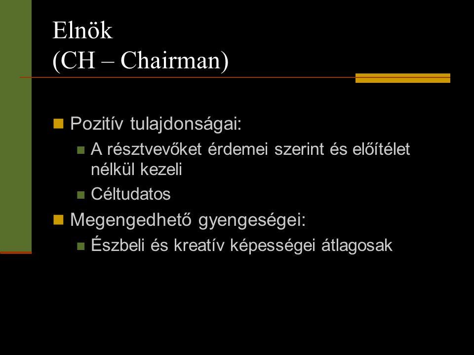 Elnök (CH – Chairman)  Pozitív tulajdonságai:  A résztvevőket érdemei szerint és előítélet nélkül kezeli  Céltudatos  Megengedhető gyengeségei: 