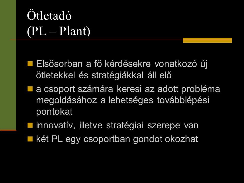 Ötletadó (PL – Plant)  Elsősorban a fő kérdésekre vonatkozó új ötletekkel és stratégiákkal áll elő  a csoport számára keresi az adott probléma megol
