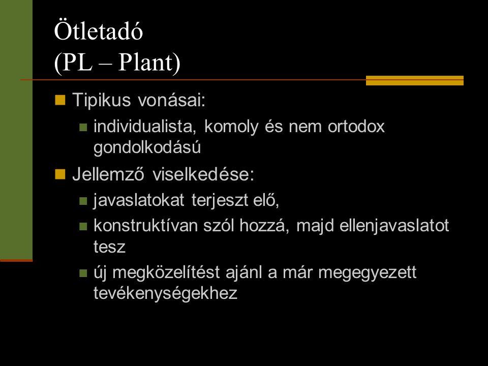 Ötletadó (PL – Plant)  Tipikus vonásai:  individualista, komoly és nem ortodox gondolkodású  Jellemző viselkedése:  javaslatokat terjeszt elő,  k