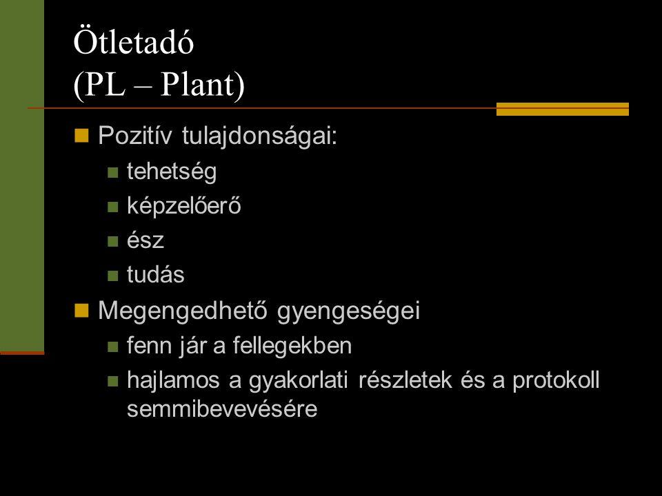 Ötletadó (PL – Plant)  Pozitív tulajdonságai:  tehetség  képzelőerő  ész  tudás  Megengedhető gyengeségei  fenn jár a fellegekben  hajlamos a