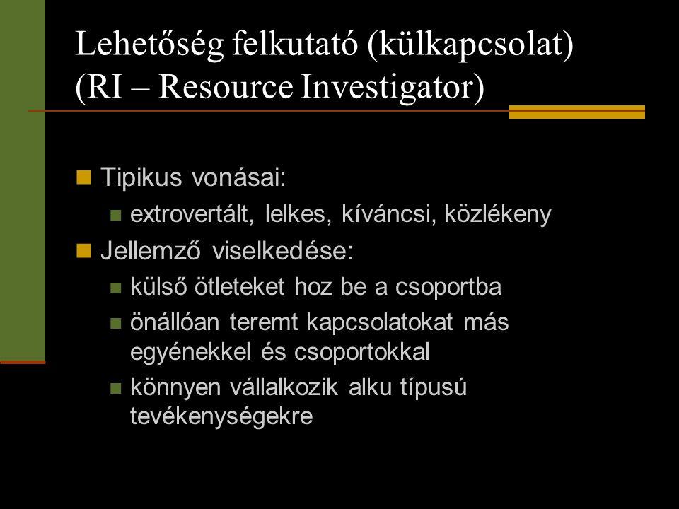 Lehetőség felkutató (külkapcsolat) (RI – Resource Investigator)  Tipikus vonásai:  extrovertált, lelkes, kíváncsi, közlékeny  Jellemző viselkedése: