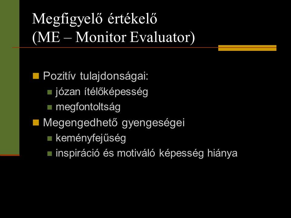 Megfigyelő értékelő (ME – Monitor Evaluator)  Pozitív tulajdonságai:  józan ítélőképesség  megfontoltság  Megengedhető gyengeségei  keményfejűség