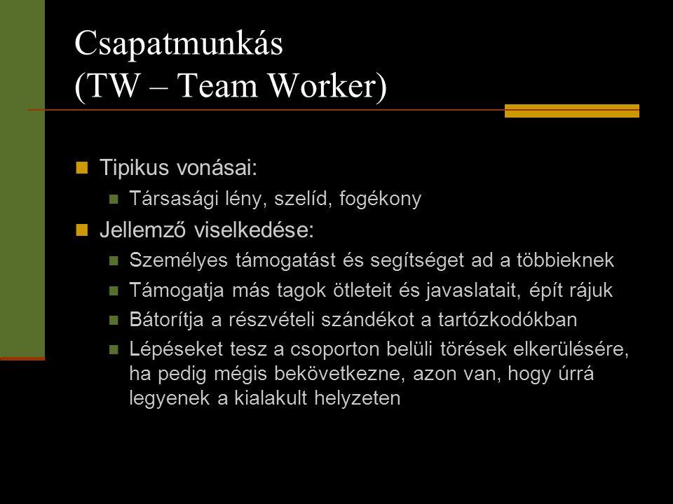 Csapatmunkás (TW – Team Worker)  Tipikus vonásai:  Társasági lény, szelíd, fogékony  Jellemző viselkedése:  Személyes támogatást és segítséget ad