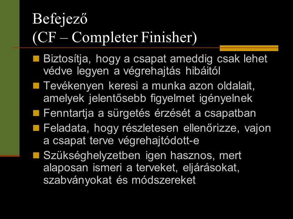 Befejező (CF – Completer Finisher)  Biztosítja, hogy a csapat ameddig csak lehet védve legyen a végrehajtás hibáitól  Tevékenyen keresi a munka azon