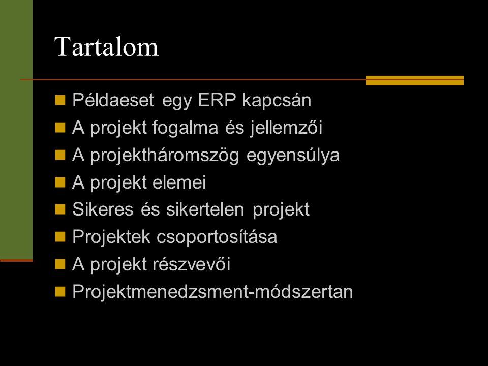 Tartalom  Példaeset egy ERP kapcsán  A projekt fogalma és jellemzői  A projektháromszög egyensúlya  A projekt elemei  Sikeres és sikertelen proje