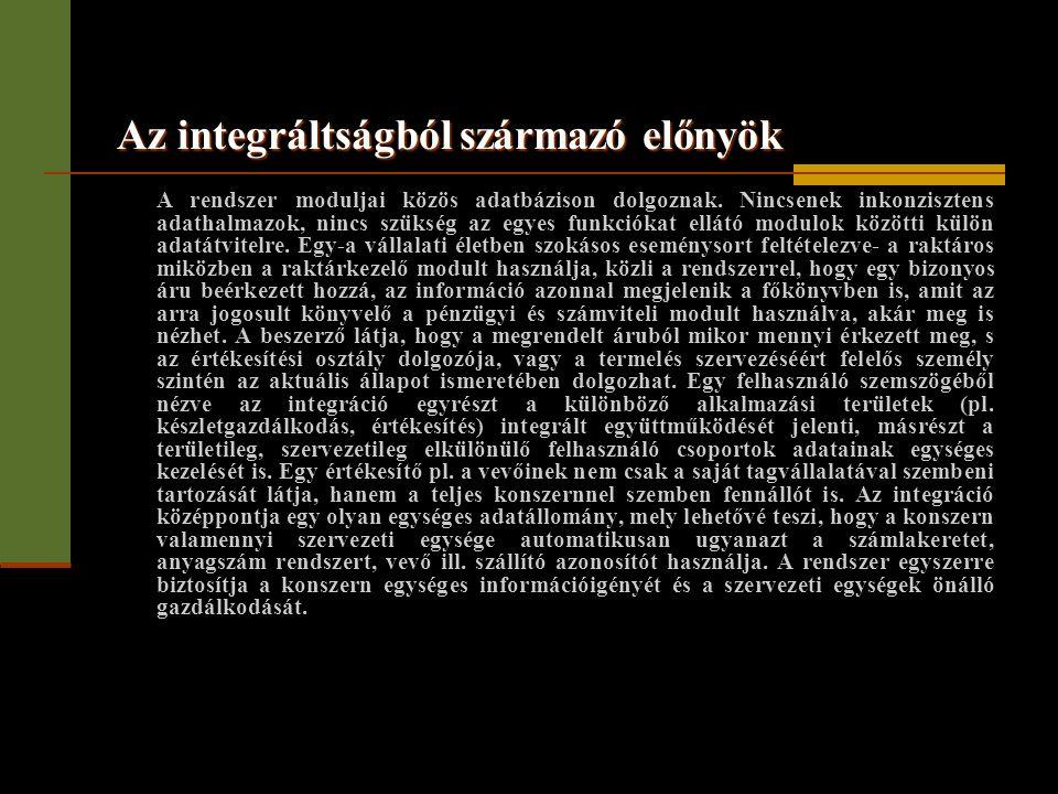 Az integráltságból származó előnyök A rendszer moduljai közös adatbázison dolgoznak. Nincsenek inkonzisztens adathalmazok, nincs szükség az egyes funk