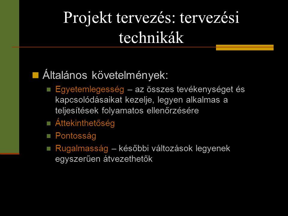 Projekt tervezés: tervezési technikák  Általános követelmények:  Egyetemlegesség – az összes tevékenységet és kapcsolódásaikat kezelje, legyen alkal