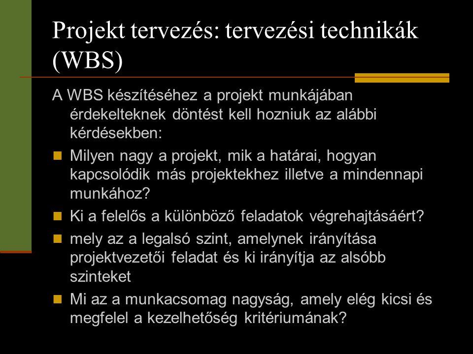 Projekt tervezés: tervezési technikák (WBS) A WBS készítéséhez a projekt munkájában érdekelteknek döntést kell hozniuk az alábbi kérdésekben:  Milyen