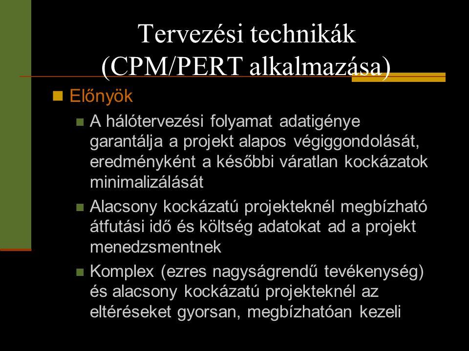 Tervezési technikák (CPM/PERT alkalmazása)  Előnyök  A hálótervezési folyamat adatigénye garantálja a projekt alapos végiggondolását, eredményként a