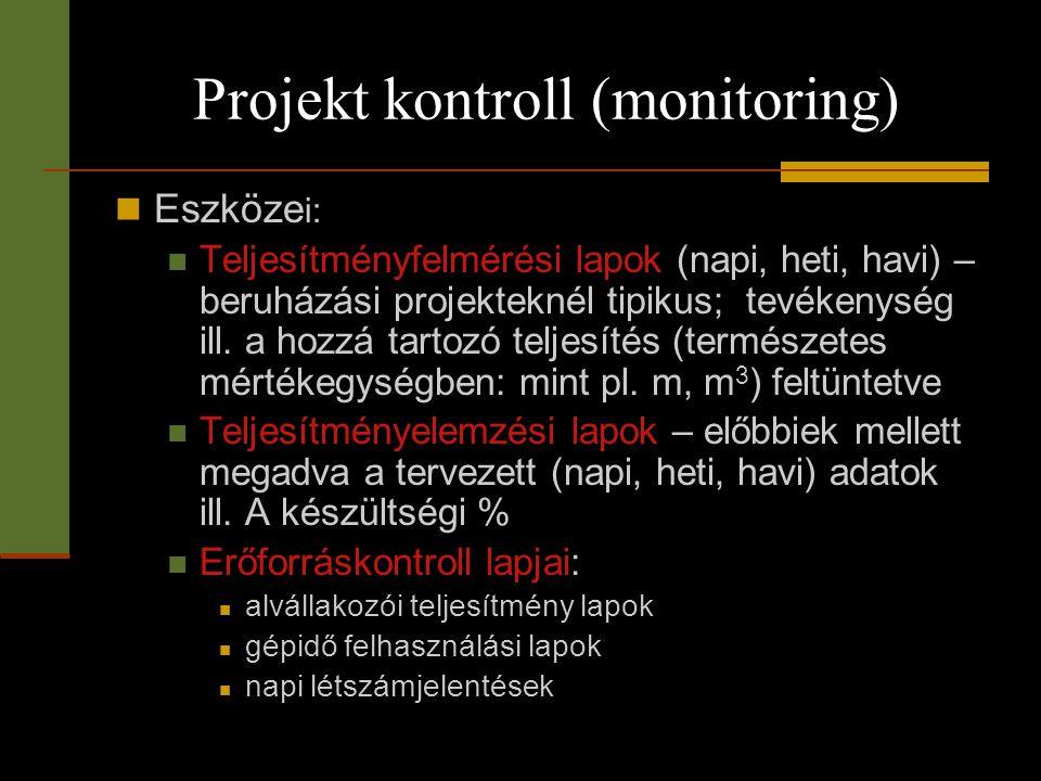 Projekt kontroll (monitoring)  Eszköze i:  Teljesítményfelmérési lapok (napi, heti, havi) – beruházási projekteknél tipikus; tevékenység ill. a hozz