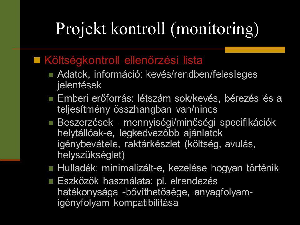 Projekt kontroll (monitoring)  Költségkontroll ellenőrzési lista  Adatok, információ: kevés/rendben/felesleges jelentések  Emberi erőforrás: létszá