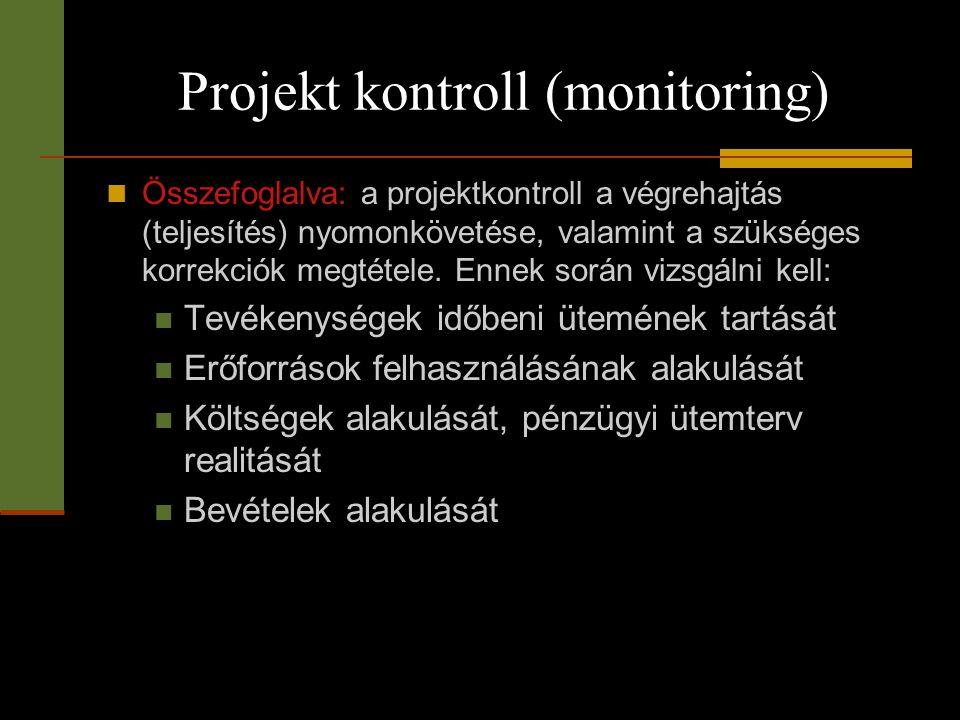 Projekt kontroll (monitoring)  Összefoglalva: a projektkontroll a végrehajtás (teljesítés) nyomonkövetése, valamint a szükséges korrekciók megtétele.