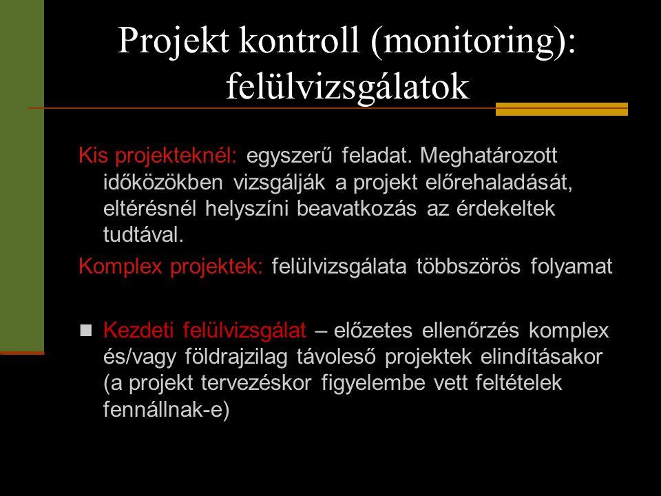 Projekt kontroll (monitoring): felülvizsgálatok Kis projekteknél: egyszerű feladat. Meghatározott időközökben vizsgálják a projekt előrehaladását, elt