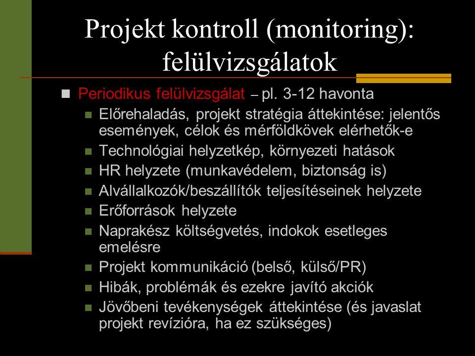 Projekt kontroll (monitoring): felülvizsgálatok  Periodikus felülvizsgálat – pl. 3-12 havonta  Előrehaladás, projekt stratégia áttekintése: jelentős