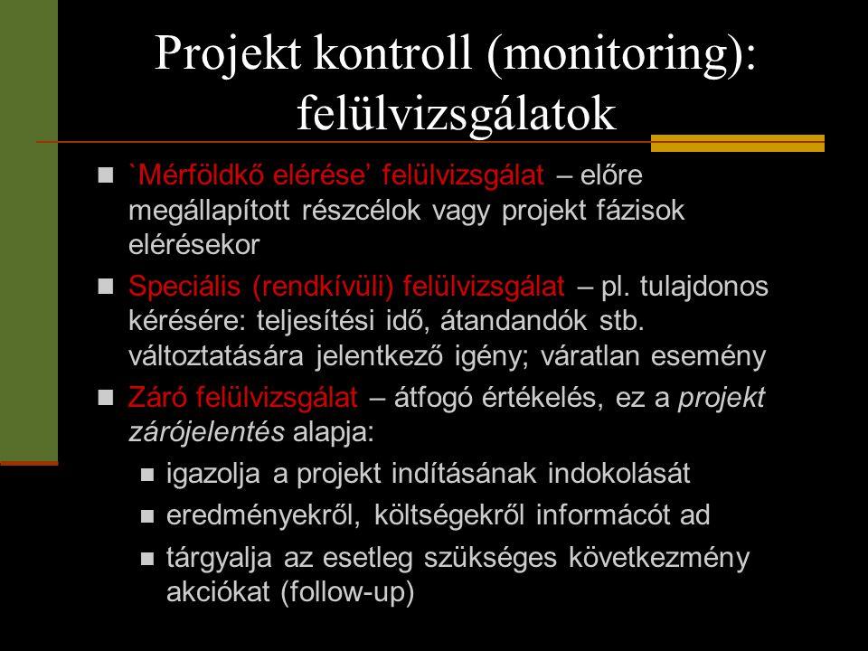 Projekt kontroll (monitoring): felülvizsgálatok  `Mérföldkő elérése' felülvizsgálat – előre megállapított részcélok vagy projekt fázisok elérésekor 