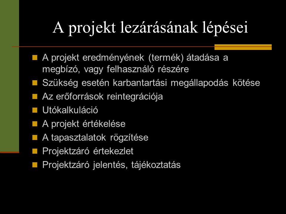 A projekt lezárásának lépései  A projekt eredményének (termék) átadása a megbízó, vagy felhasználó részére  Szükség esetén karbantartási megállapodá