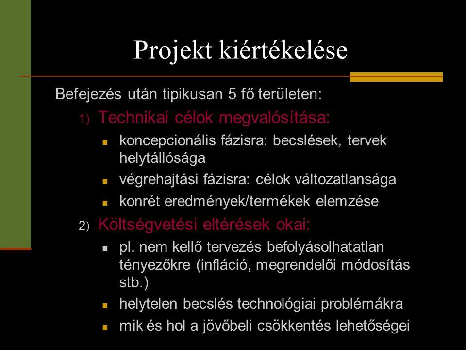 Projekt kiértékelése Befejezés után tipikusan 5 fő területen: 1) Technikai célok megvalósítása:  koncepcionális fázisra: becslések, tervek helytállós