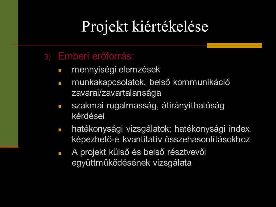 Projekt kiértékelése 3) Emberi erőforrás:  mennyiségi elemzések  munkakapcsolatok, belső kommunikáció zavarai/zavartalansága  szakmai rugalmasság,