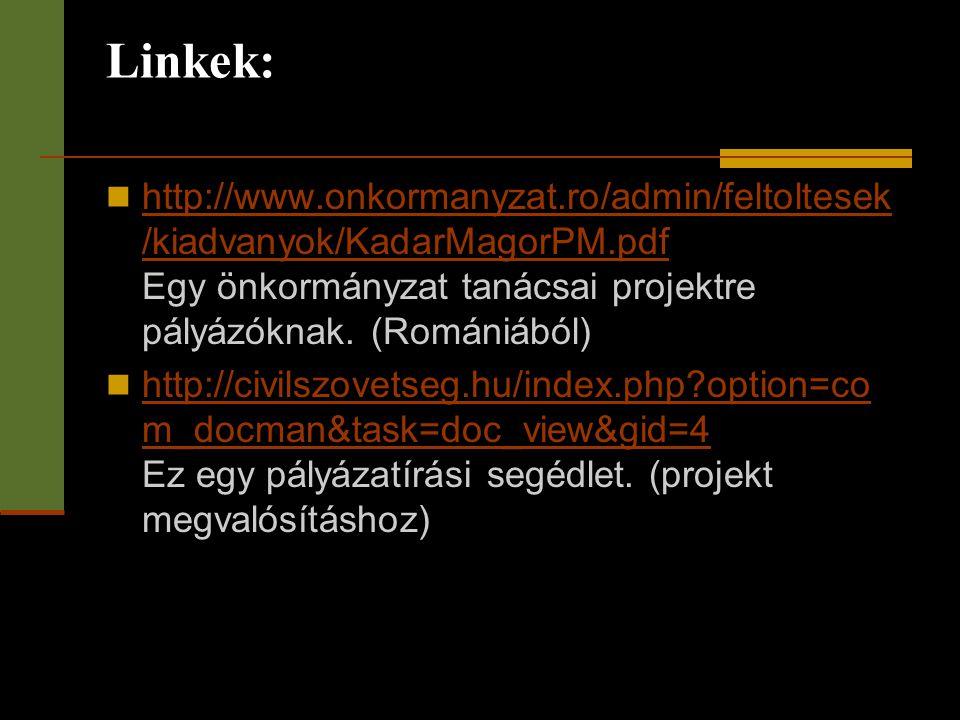 Linkek:  http://www.onkormanyzat.ro/admin/feltoltesek /kiadvanyok/KadarMagorPM.pdf Egy önkormányzat tanácsai projektre pályázóknak. (Romániából) http