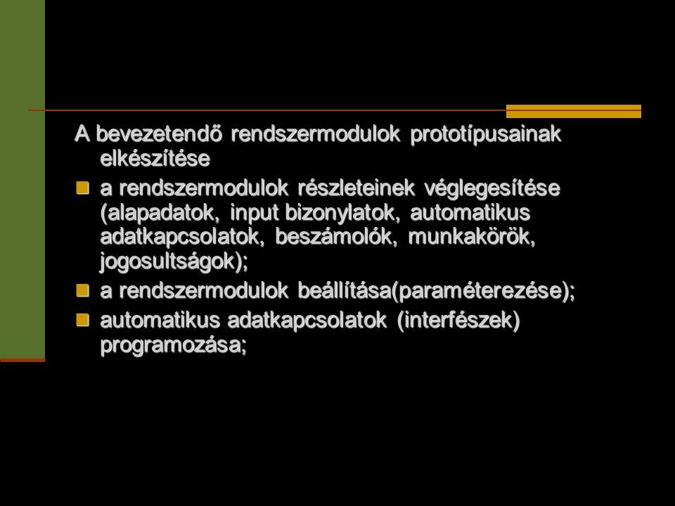 A bevezetendő rendszermodulok prototípusainak elkészítése  a rendszermodulok részleteinek véglegesítése (alapadatok, input bizonylatok, automatikus a