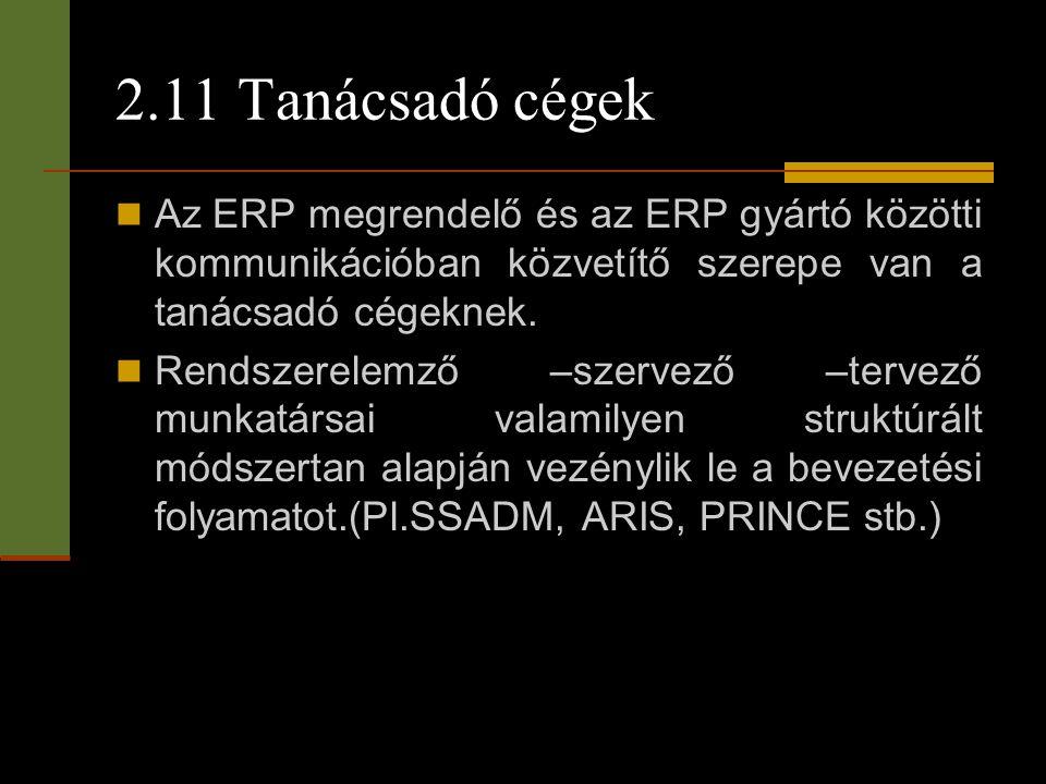 2.11 Tanácsadó cégek  Az ERP megrendelő és az ERP gyártó közötti kommunikációban közvetítő szerepe van a tanácsadó cégeknek.  Rendszerelemző –szerve