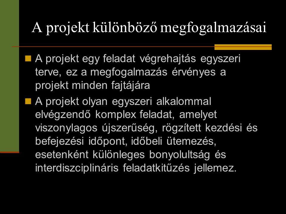 A projekt különböző megfogalmazásai  A projekt egy feladat végrehajtás egyszeri terve, ez a megfogalmazás érvényes a projekt minden fajtájára  A pro