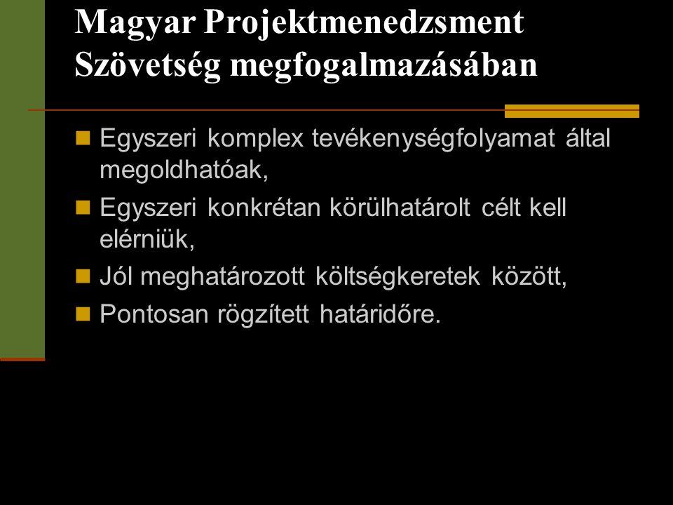 Magyar Projektmenedzsment Szövetség megfogalmazásában  Egyszeri komplex tevékenységfolyamat által megoldhatóak,  Egyszeri konkrétan körülhatárolt cé