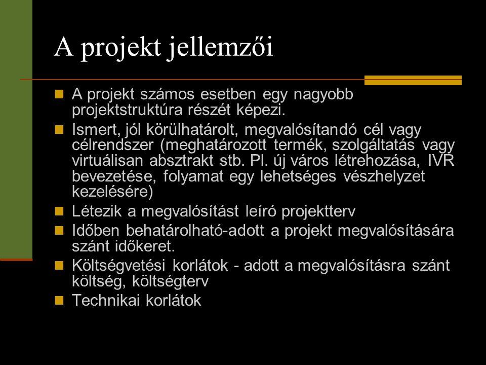 A projekt jellemzői  A projekt számos esetben egy nagyobb projektstruktúra részét képezi.  Ismert, jól körülhatárolt, megvalósítandó cél vagy célren