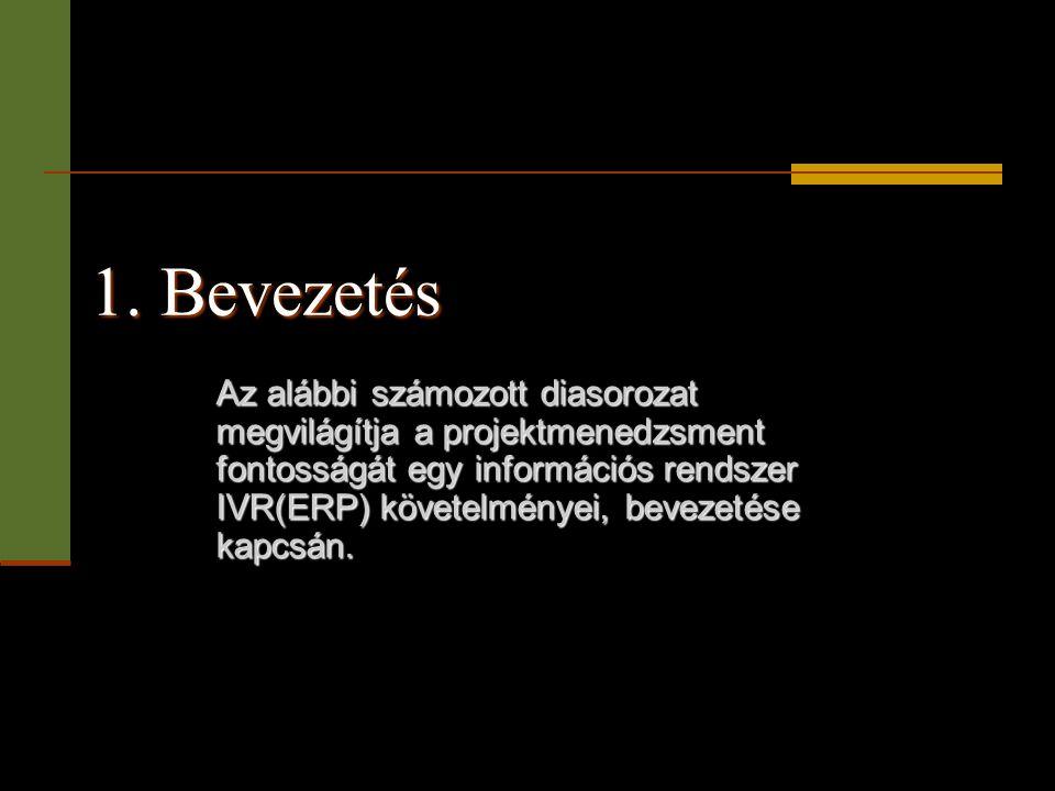 1. Bevezetés Az alábbi számozott diasorozat megvilágítja a projektmenedzsment fontosságát egy információs rendszer IVR(ERP) követelményei, bevezetése