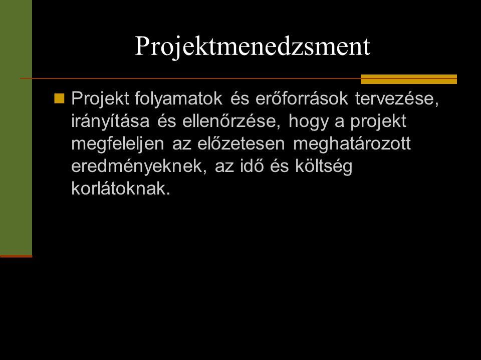 Projektmenedzsment  Projekt folyamatok és erőforrások tervezése, irányítása és ellenőrzése, hogy a projekt megfeleljen az előzetesen meghatározott er
