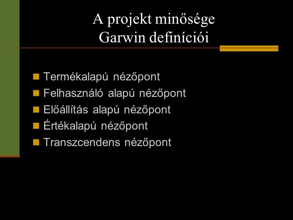 A projekt minősége Garwin definíciói  Termékalapú nézőpont  Felhasználó alapú nézőpont  Előállítás alapú nézőpont  Értékalapú nézőpont  Transzcen