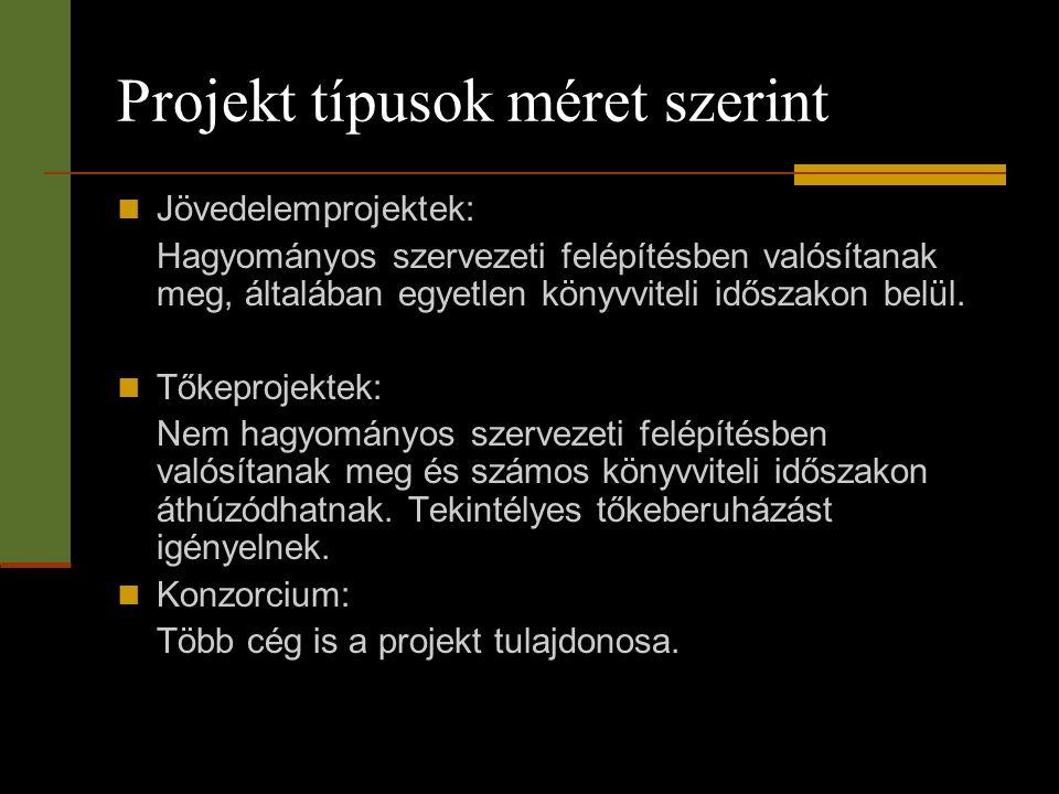 Projekt típusok méret szerint  Jövedelemprojektek: Hagyományos szervezeti felépítésben valósítanak meg, általában egyetlen könyvviteli időszakon belü