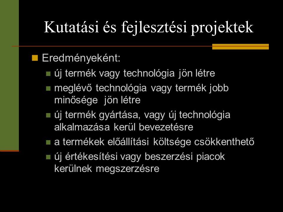 Kutatási és fejlesztési projektek  Eredményeként:  új termék vagy technológia jön létre  meglévő technológia vagy termék jobb minősége jön létre 