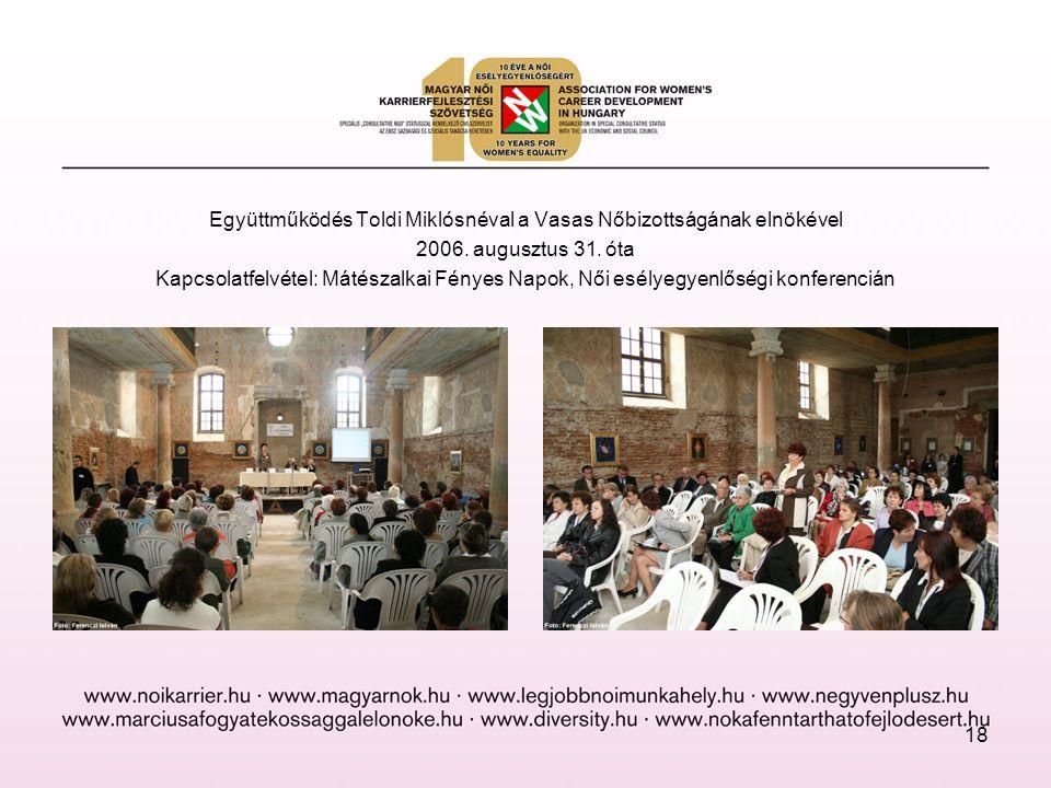 Együttműködés Toldi Miklósnéval a Vasas Nőbizottságának elnökével 2006. augusztus 31. óta Kapcsolatfelvétel: Mátészalkai Fényes Napok, Női esélyegyenl