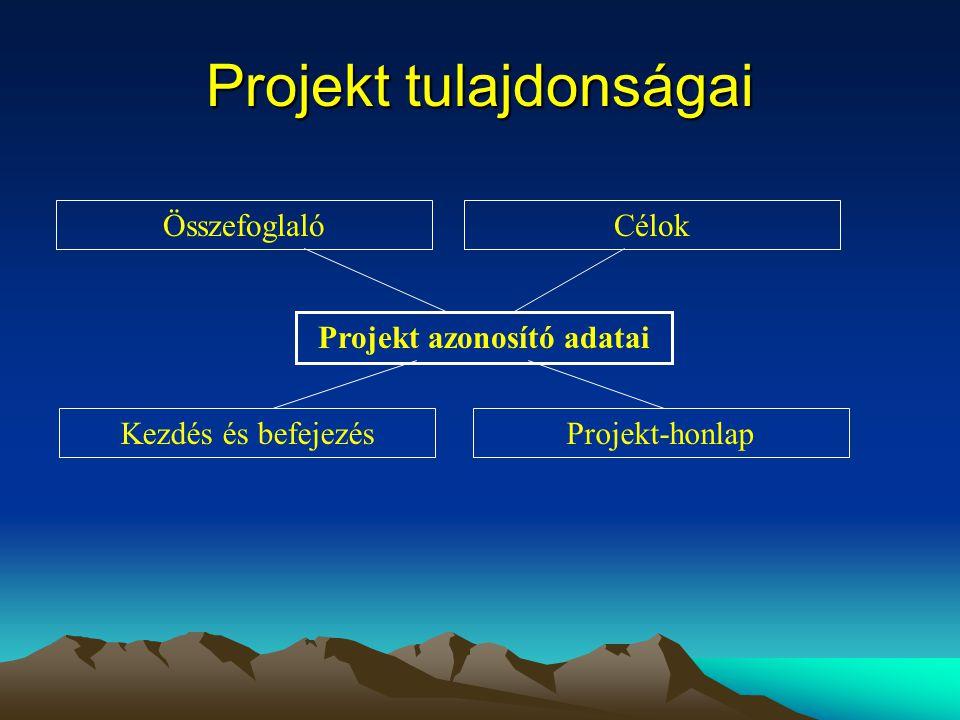Projekt tulajdonságai Projekt azonosító adatai Kezdés és befejezésProjekt-honlap ÖsszefoglalóCélok