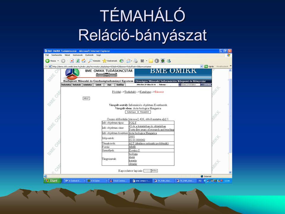 TÉMAHÁLÓ Reláció-bányászat