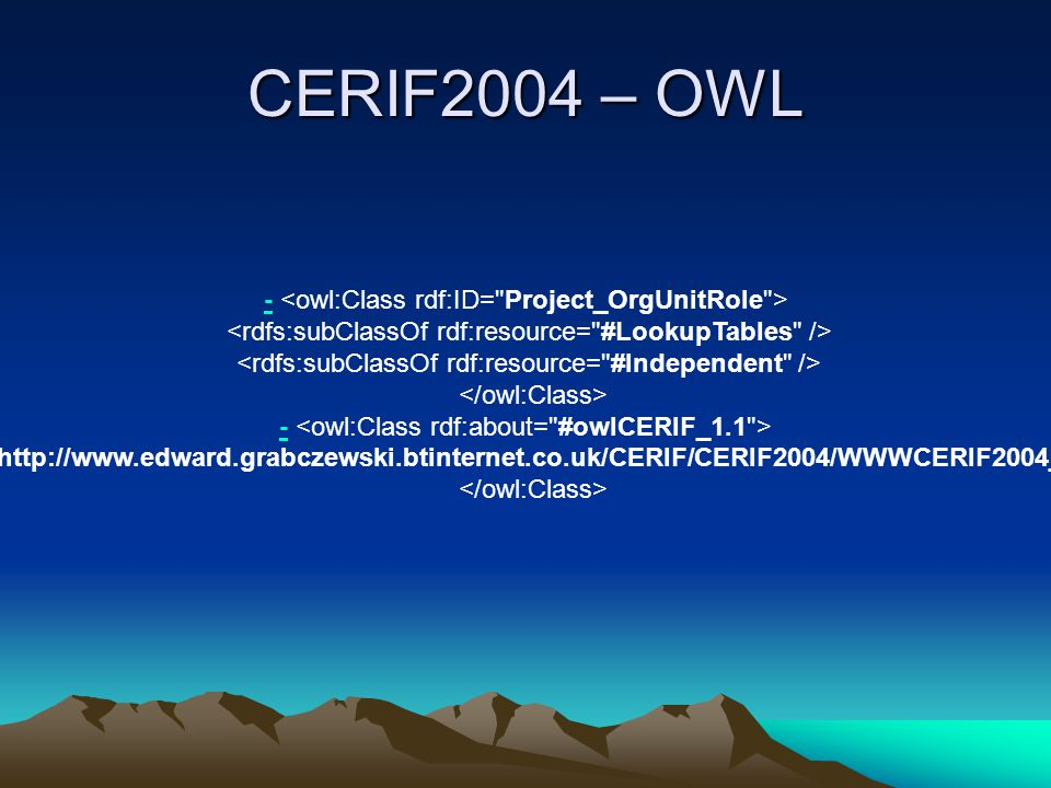 - - Based on the relational 1.1 version of the CERIF Model from euroCRIS:   Transformation of the Relational DB Model into an OWL Ontology Model (1:1).