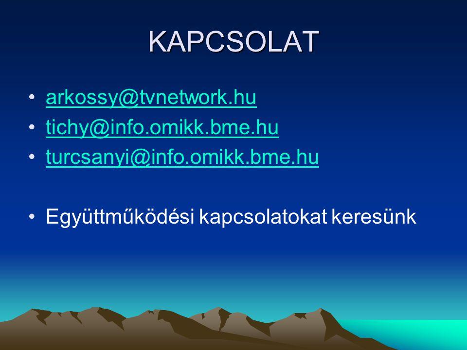 KAPCSOLAT •arkossy@tvnetwork.huarkossy@tvnetwork.hu •tichy@info.omikk.bme.hutichy@info.omikk.bme.hu •turcsanyi@info.omikk.bme.huturcsanyi@info.omikk.bme.hu •Együttműködési kapcsolatokat keresünk