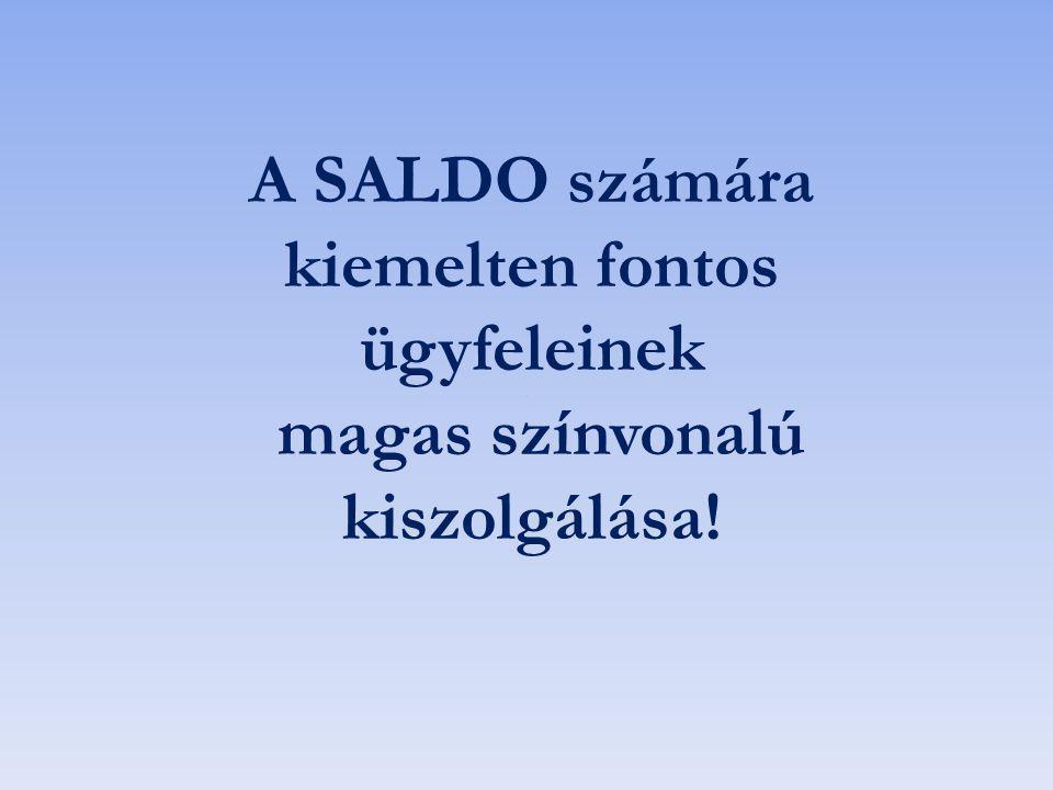 A SALDO számára kiemelten fontos ügyfeleinek magas színvonalú kiszolgálása!
