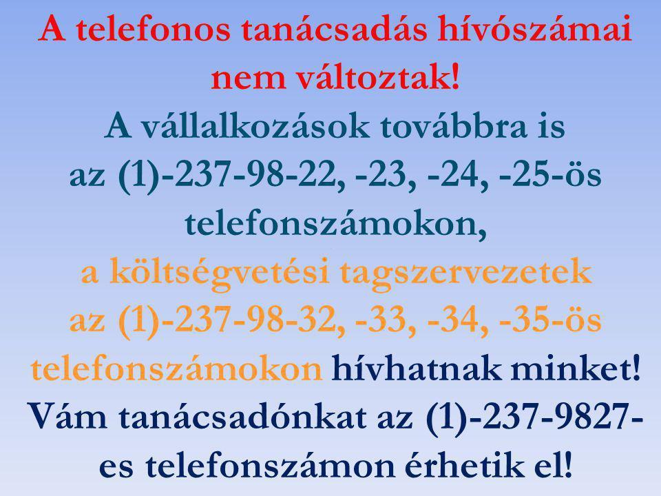 A telefonos tanácsadás hívószámai nem változtak! A vállalkozások továbbra is az (1)-237-98-22, -23, -24, -25-ös telefonszámokon, a költségvetési tagsz