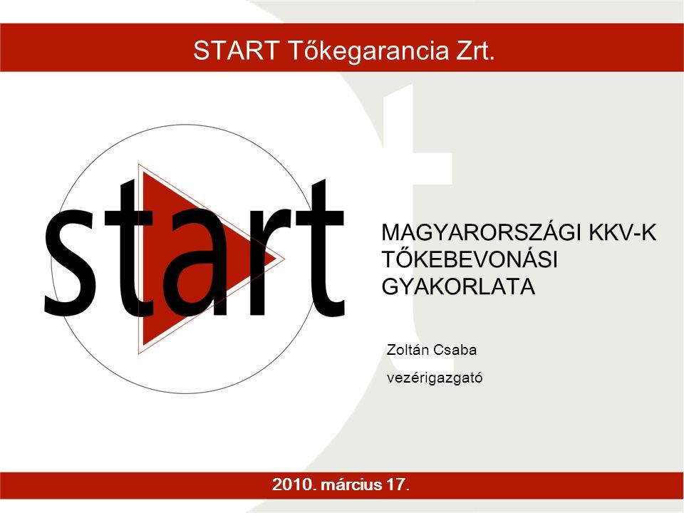 START Tőkegarancia Zrt. 2010. március 17. MAGYARORSZÁGI KKV-K TŐKEBEVONÁSI GYAKORLATA Zoltán Csaba vezérigazgató