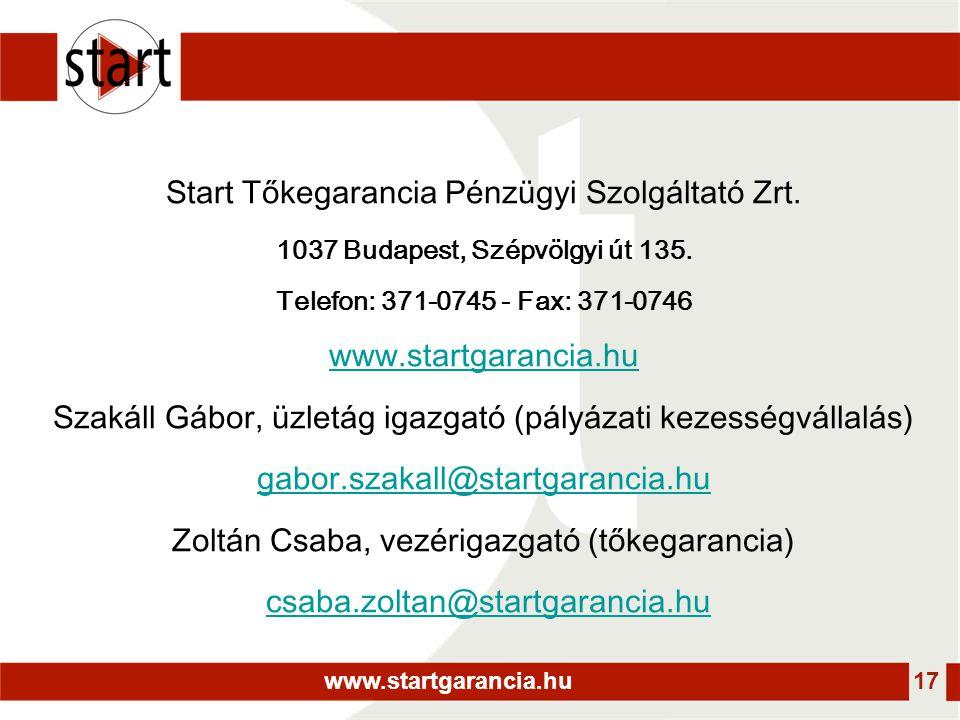 www.startgarancia.hu 17 Start Tőkegarancia Pénzügyi Szolgáltató Zrt. 1037 Budapest, Szépvölgyi út 135. Telefon: 371-0745 - Fax: 371-0746 www.startgara