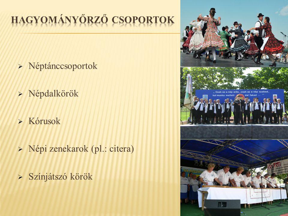  Néptánccsoportok  Népdalkörök  Kórusok  Népi zenekarok (pl.: citera)  Színjátszó körök