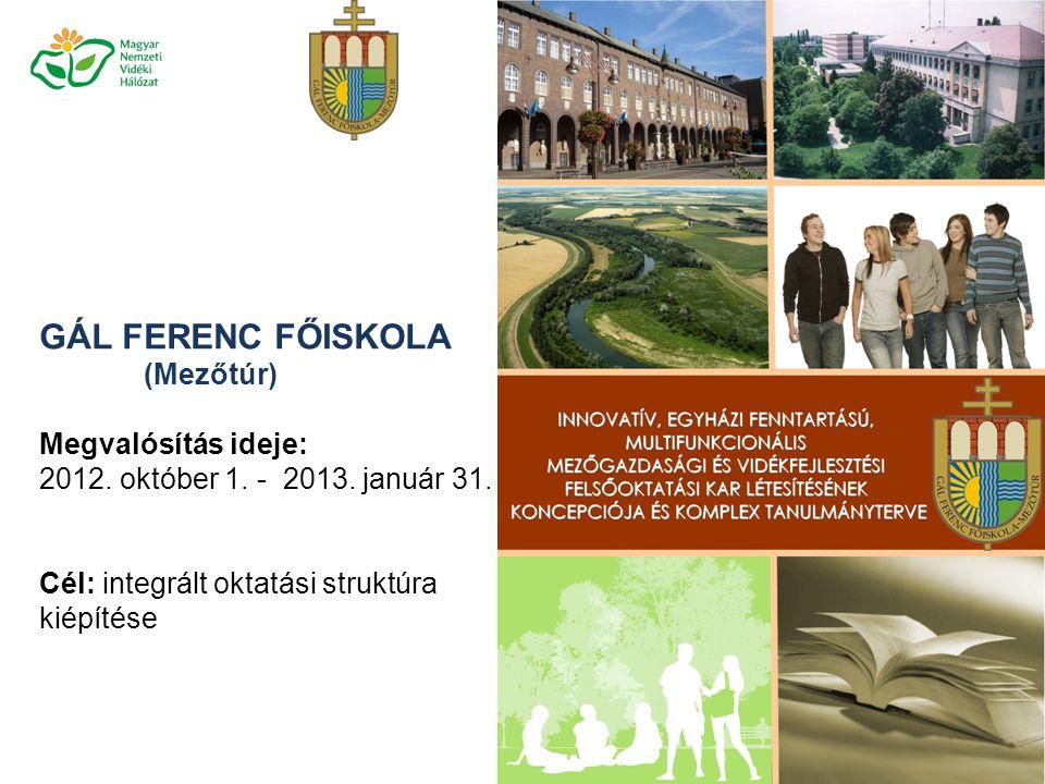 GÁL FERENC FŐISKOLA (Mezőtúr) Megvalósítás ideje: 2012. október 1. - 2013. január 31. Cél: integrált oktatási struktúra kiépítése