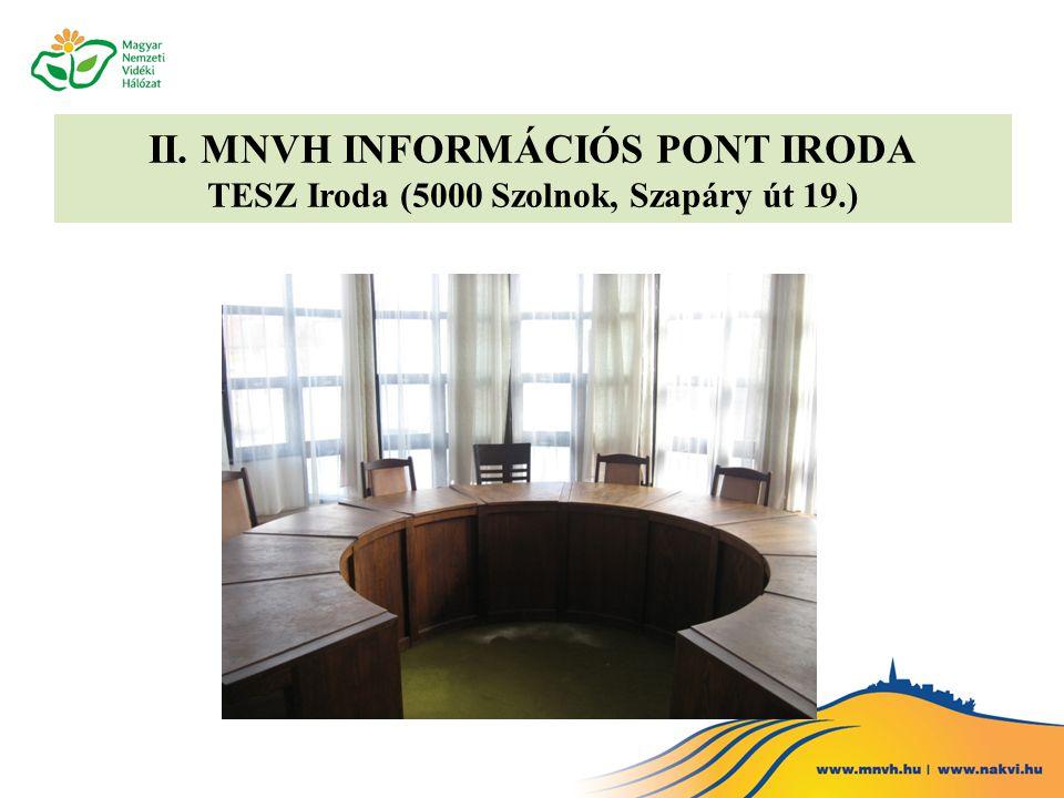 II. MNVH INFORMÁCIÓS PONT IRODA TESZ Iroda (5000 Szolnok, Szapáry út 19.)