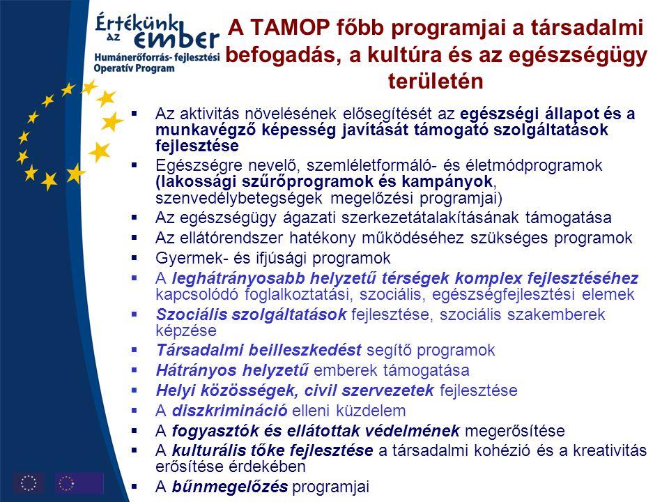 A TAMOP főbb programjai a társadalmi befogadás, a kultúra és az egészségügy területén  Az aktivitás növelésének elősegítését az egészségi állapot és