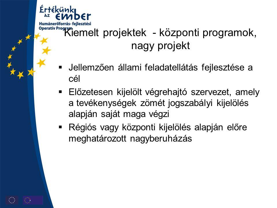 Kiemelt projektek - központi programok, nagy projekt  Jellemzően állami feladatellátás fejlesztése a cél  Előzetesen kijelölt végrehajtó szervezet,