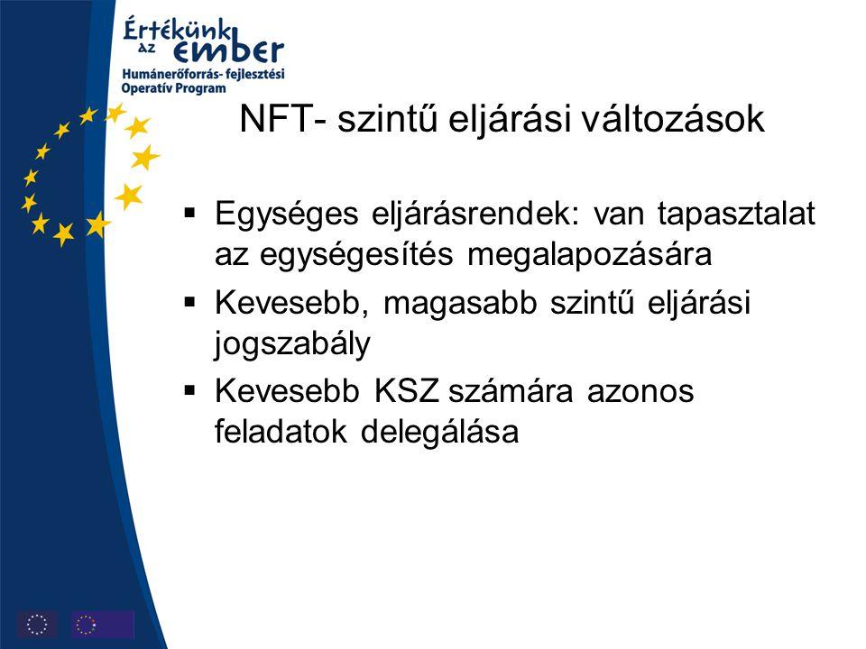 NFT- szintű eljárási változások  Egységes eljárásrendek: van tapasztalat az egységesítés megalapozására  Kevesebb, magasabb szintű eljárási jogszabá
