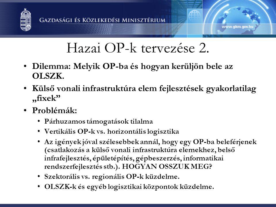 Hazai OP-k tervezése 2. •Dilemma: Melyik OP-ba és hogyan kerüljön bele az OLSZK.